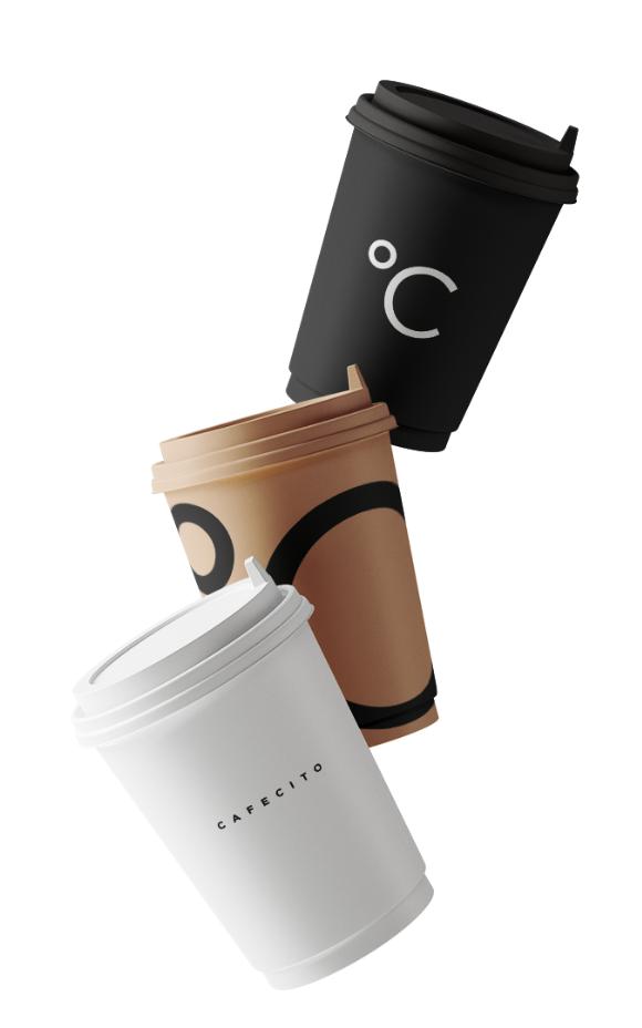 Koffiebar Amsterdam, drie koffiebekers met de kleuren zwart, bruin en wit van de koffiezaak Cafecito