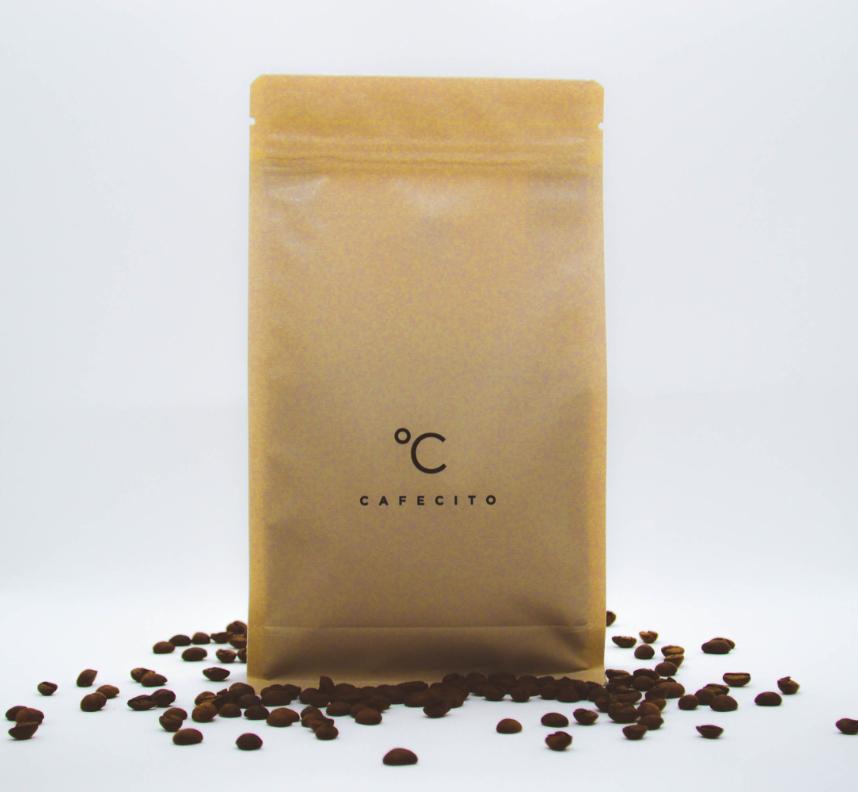 Koffiebar Amsterdam, bruine koffiezak met koffiebonen